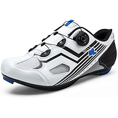 Wonderfully Zapatos de ciclismo para hombre Ultralight transpirable Road Riding Lock zapatos para bicicletas de ciclismo Deporte y competiciones (Blanco, 43 EU)