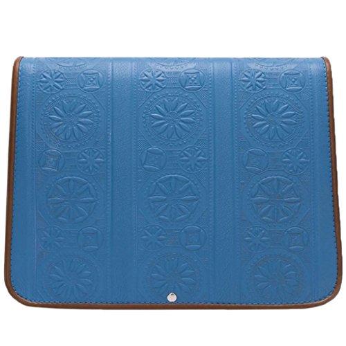 Geprägte Schulter Tasche (kōson Leder–Blau Spalten–Traditionelle Motive Leder Tasche mit geformten Mustern)