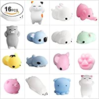 Mochi Squishy Toys, FJBMW Squishies 16 Pcs Mini Squishies Squishys Mochi Animals Stress Toys Panda Squishy Kawaii Squishy Cat Stress Reliever Anxiety Toys For Children Adults