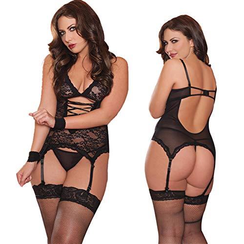 LOVELYBOBO Damen Reizwäsche elastische Spitzen Teddy Unterwäsche mit Strumpfhaltergürtel-Dessous in Übergröße Schwarz