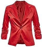 Sambosa Eleganter Damenblazer Blazer Baumwolle Jäckchen Business Freizeit Party Jacke in 26 Farben 34 36 38 40 42, Farbe:Rot;Größe:M-38