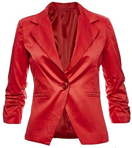 Sambosa Eleganter Damenblazer Blazer Baumwolle Jäckchen Business Freizeit Party Jacke in 26 Farben 34 36 38 40 42, Farbe:Rot;Größe:L-38