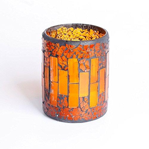 Mosaico a lume di candela, DFL Red crepa Reticolo di mosaico di vetro con senza fiamma elettronico a LED Candele con 4 e 8 ore timer, batteria (3x4 pollice, Rosso)