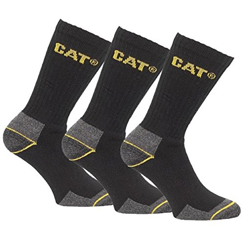 (12 Pairs) 4 x Pack of 3 Caterpillar Work Socks Cotton Mens in Black Size