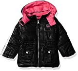 Pink Platinum Baby Girls Tonal Dot Puffer, Black, 12M