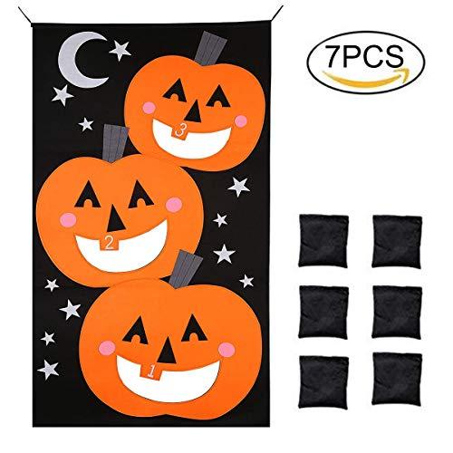 (Povkeever Kürbis Bean Bag Toss Spiel 6Bean Bags, Halloween Spiele Set Kürbis Banner Fun Werfen Spiele Party Dekorationen Kinder Erwachsene)