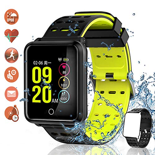 TagoBee TB06 IP68 wasserdichte Smart Watch HD Touchscreen Fitness Tracker Unterstützung Blutdruck Herzfrequenz Schlafüberwachung Schrittzähler kompatibel mit Android und IOS (Schwarz 1)