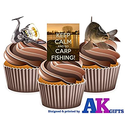 Keep Calm And Go Carp Fishing Mix Cake Decorations - Edible Stand-up CupCake Toppers (pack of 12) from AK GIfts