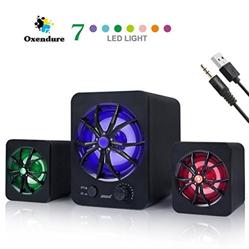 LED-Computer-Speaker-USB-Powered-One-Subwoofer-2x-Satellite-Speaker-Wired-Laptop-Speakers-Small-Computer-Speakers-for-PC-Echo-Dot-Black
