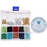 1200 Pcs Perles Rondes de Couleurs Assorties, Lictin Perles Rocaille pour Collier Bracelet avec 1 Rouleau Corde Blanche Fils à Perler