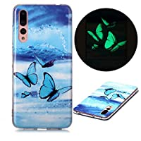 ‏‪Mylne Luminous Effect Back Case Cover for Samsung Galaxy A70,Noctilucent Glow in the Dark Green Soft Slim TPU Gel Flexible Bumper,Blue Butterfly‬‏