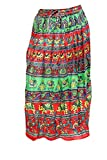 Indiatrendzs Women Red Green Cotton Fabr...