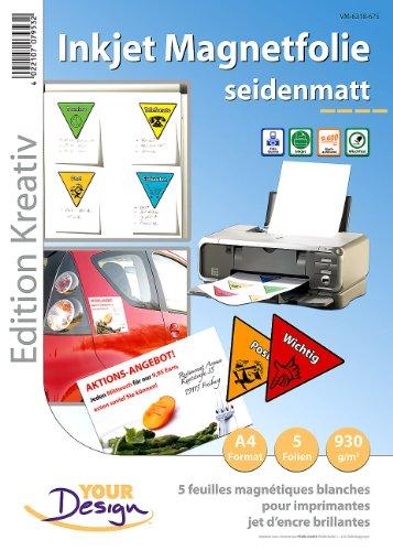 Your Design Magnetpapier: 5 Inkjet-Magnetfolien A4 matt/weiß (Wasserfeste Magnetfolie)