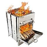 ZJY Stufa da Campeggio Pieghevole, stufe a Legna, griglia per Barbecue - Design Portatile a più combustibili Ventilazione Forte - Adatto per Picnic Barbecue Escursionismo