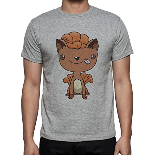 Pokemon Vulpix Ninetales Fire Standing Front Herren T-Shirt Grau