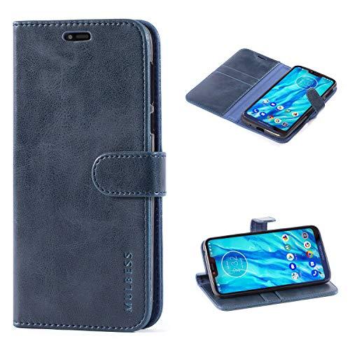 Mulbess Handyhülle für Moto G7 Power Hülle, Leder Flip Case Schutzhülle für Motorola Moto G7 Power Tasche, Dunkel Blau