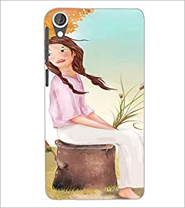PrintDhaba Sitting Girl D-2658 Back Case Cover for HTC DESIRE 820 (Multi-Coloured)