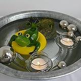 Gartenzaubereien Miniteich-Set, Frosch i.Ring gelb, mit Silberkugeln + Schalen