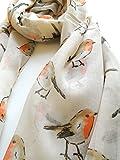 Christmas Winter Robin Bird Scarf in Cream Animal Print Scarves
