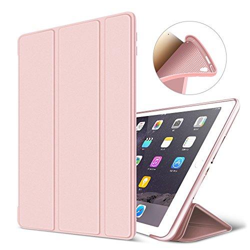 GOOJODOQ iPad Pro 10.5 Hülle, Ultra Slim PU Leder Etui Hülle Tasche mit Ständer Funktion und Eingebautem Magnet für Einschlaf/Aufwach Silikon Weicher TPU Folio Hülle für iPad Pro 10.5(Rosa)