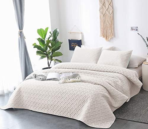 DAWNDIOR Super Soft Quilt-Bedding-Coverlet-Sets, König Queen Zwei Größe mit 2kissenrollen und 1Leicht Tröster Mini Set, die Solide Farbe Queen/Full Pink-b -