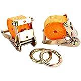 FreeTec 2 Stück Zurrgurte Transportsicherung Spanngurt Ratschengurte Set für Motorrad, 3 Meter 10.000 lb