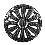 Saferide | Universal Radkappen Bicolor Carbon Look Radblenden Schwarz Set 4 Stk. 16 Zoll Klassisch Alufelgen OptikRadblenden Radzierblenden Felgenabdeckung Felgenkappen Radabdeckungen