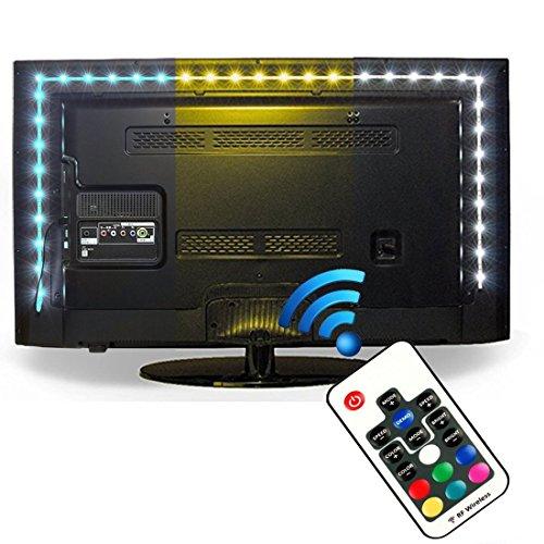 Iluminación para HDTV (78.7in / 2m) com nado a distancia - Luz multicolor RGB LED TV EveShine - Luz trasera para TV LCD pantalla planta, Monitores para ordenador - Ideal para Televisores hasta 60'' - Negro