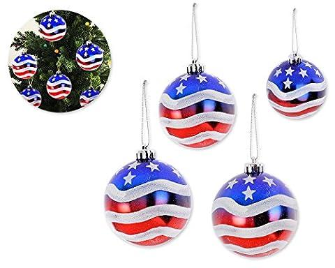 DSstyles 8 cm amerikanische Flagge Shatterproof Christmas Ball Ornaments - Set aus 6
