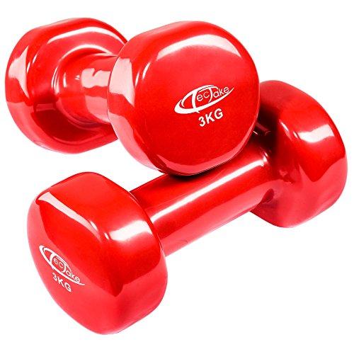 TecTake Manubri in vinile set pesi per aerobica fitness | superficie antiscivolo - modelli differenti - (3kg | rosso | no. 402360)