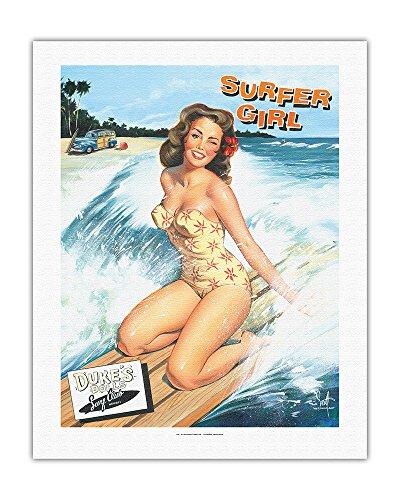 Pacifica Island Art - Surferin - Retro Woodie mit Surfbrettern und Pin-up Girl - Gemälde von Scott Westmoreland - Leinwand Kunstdruck 51 x 66 cm