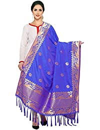 Royal Blue& Golden Art Silk Banarasi Dupatta With Tassel