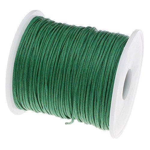 Perlin – 75 m Gewachste Baumwollekordel Grün 1mm Gewachst Schmuck Schnüre Wachs Fäden ideal zur Schmuckherstellung C285