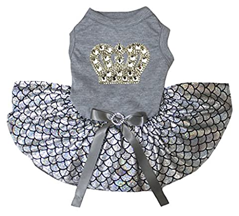 petitebelle Gold Krone grau Shirt Bling Silber Fisch Waage Mermaid