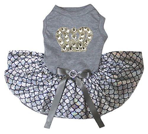petitebelle Gold Krone grau Shirt Bling Silber Fisch Waage Mermaid Hund Kleid