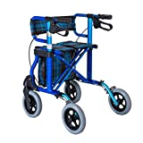 Rollator in lega di alluminio, pieghevole leggero con ruote a 4 ruote Walker Aid con sedile imbottito Freni con serratura e bagagliaio, regolabile in altezza, blu, carico massimo 136kg