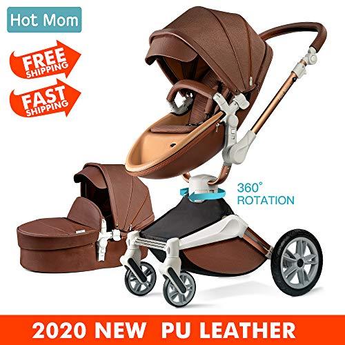 Hot Mom Silla de paseo Reversibilidad rotación multifuncional de 360 grados con buggy asiento y capazo 2019 Nueva actualización - F023 Color café