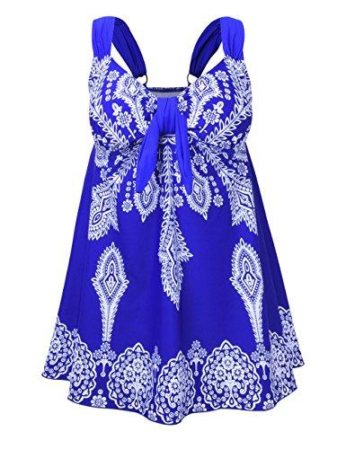 Nonwe Frauen Plus-Size Badeanzug Retro Print Two Piece Pin Tankini Bademode mit Shorts Blau EU 58 (Pin Badeanzug)