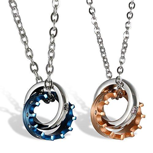 Oidea collana per coppia lovers collana acciaio inox pendente anello corona imperiale mosaico zircone regalo san valentino blu oro rosa(1 coppia)