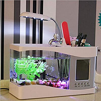 camellia Kreative Mini-USB-Desktop-Elektronik Aquarium-Fisch-Aufzuchtbecken LED-Licht-Kalender Aquarium Wecker (weiß)