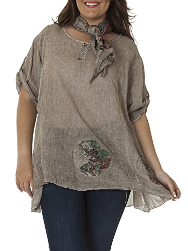 Love My Fashions Damen Lagenlook Floral Print-Schal® Tunika Top One Size Plus Mokka