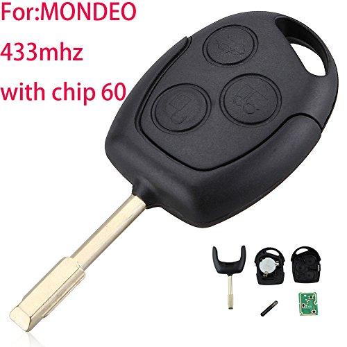 zongsi 3Tasten Fernbedienung Schlüssel + neue Fernbedienung Board und Transponder Chip 4D60Für Ford Fiesta Focus Mondeo C-Max (Schlüssel Fernbedienung Ford)