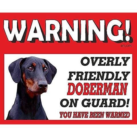 Dóberman (Negro Dog) perro guardián Cartel de Metal 10fl oz lavavajillas 92