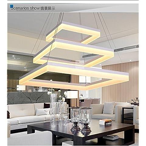 Winson Elegante design elegante in stile vintage da soffitto pendente tonalità di luce elegante ciondolo LightsRectangular LED 3 , lampadari 80+60+40CM piani a forma rettangolare - Rettangolare Pendente A Forma