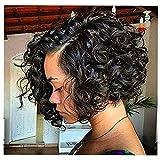 Kurz Afro Gelockt Haar Perücken Zum Schwarz Frau Seite Trennen Natürlich Schwarz Farbe Synthetik Flauschige Fest Gelockt Hitze Beständig Perücken, Black