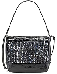 Tamaris Mandy, mini Hobo Bag, Sac à main femme sac bandoulière, 23x 20x 7cm (B x H x T), noir Comb.