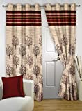 Homefab India Jute Modern 2 Piece Eyelet Polyester Window Curtain Set - 5ft, Maroon