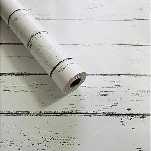MEIBAN Holz Tapeten Möbelfolie Selbstklebend Schrank Klebefolie Weiß 45cm*3m Aufkleber Abnehmbare Selbstklebende Tapeten Dekofolie Möbelsticker Wand wasserdicht Vinylfolie Schlafzimmer Schränke (Tapete Weiße Abnehmbare)