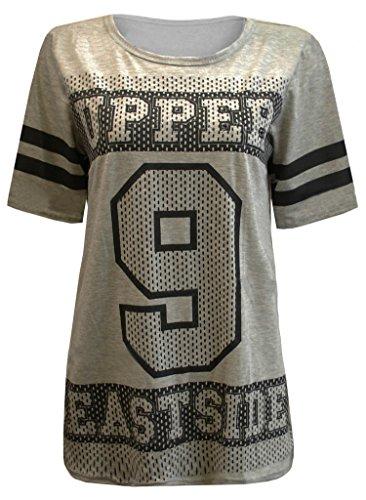 Fast Fashion Frauen T-Shirt Striped Sleeve Slogan 9 Upper Eastside Top Grau