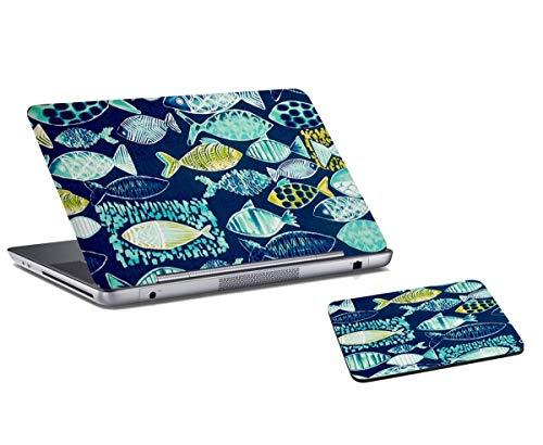 RADANYA Fisch Bedruckte Laptop-Haut Und Mauspad-Kombination Für Laptop, Computer, Büro